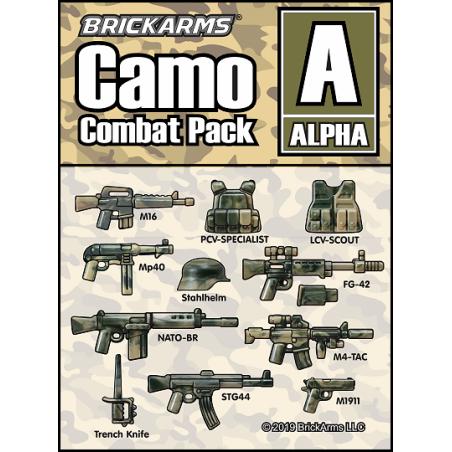 Brickams Camo Combat Pack Alpha wapen set voor LEGO Minifigures