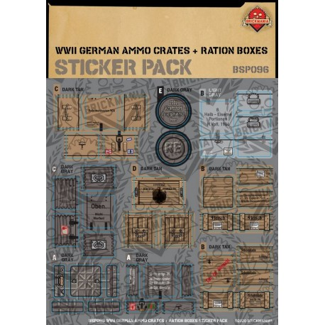 WW2 - German Ammo Crates and Ration Boxes - Sticker Pack