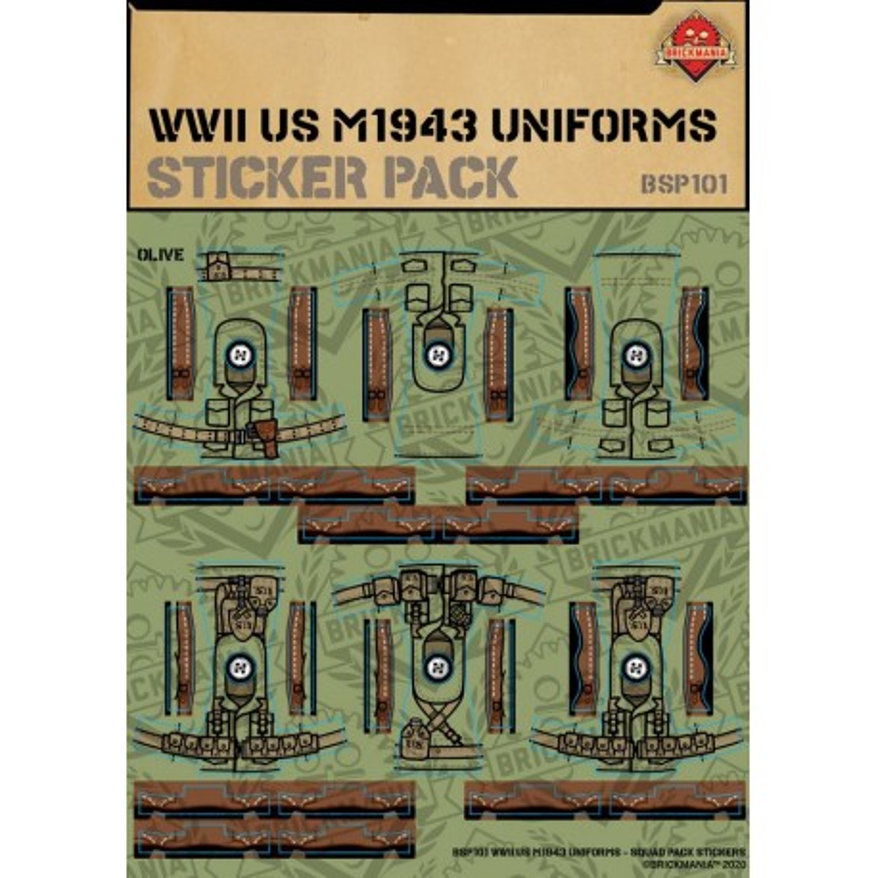 WW2 - U.S. M1943 Uniforms - Sticker Pack