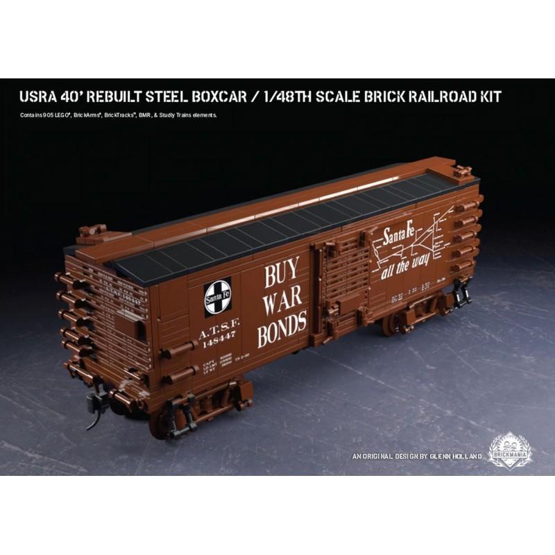USRA 40' Rebuilt Steel Boxcar - 1/48th Scale Brick Railroad Kit