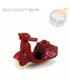 Scooter - Donker rood - Harten Print