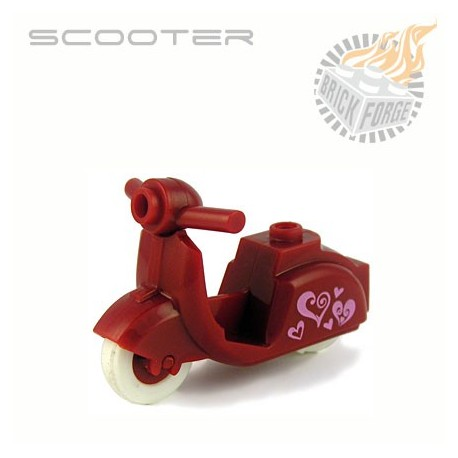 Scooter - Dark Red Hearts Print