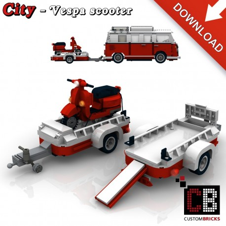 Trailer with Vespa scooter - Building instructions