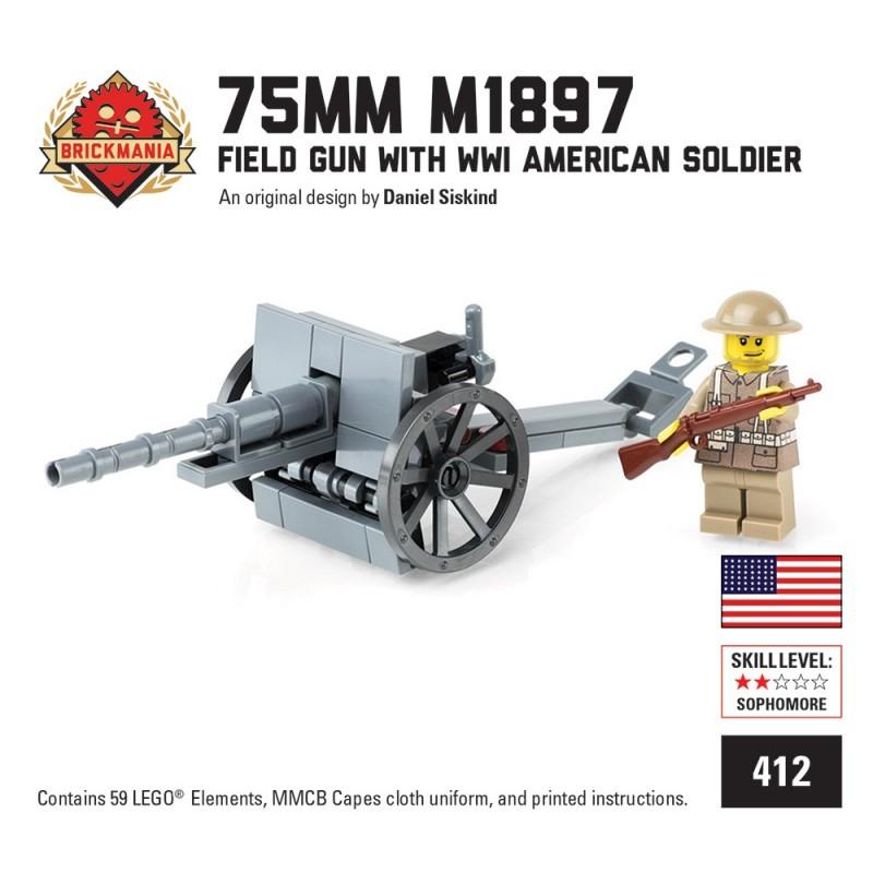 75mm M1897 Field Gun met WWI Amerikaanse Soldaat