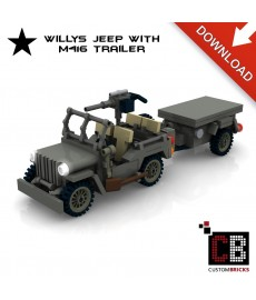 Willys Jeep with M416 trailer - Building instructions