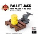 Pallet Jack with Pallet & Oil Drum