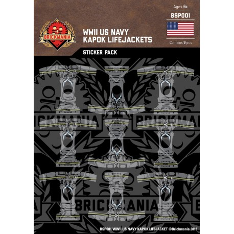 WW2 - US Navy Kapok Lifejackets - Sticker Pack