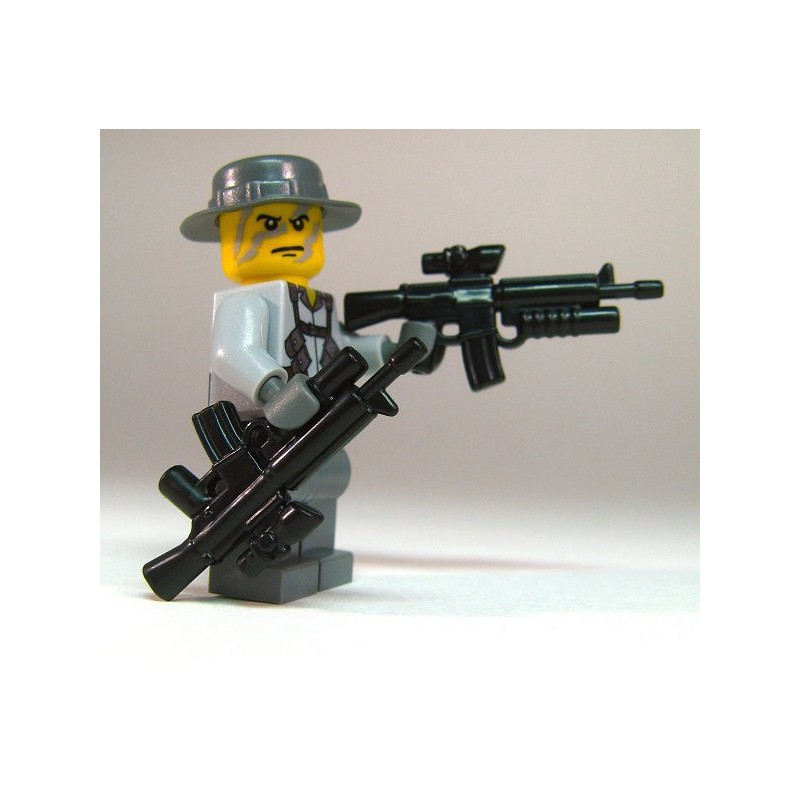 BrickArms Black M16 AGL Rifle Weapons for Brick Minifigures